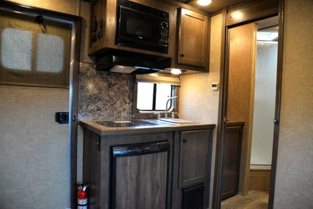 Kitchen Area in CX9ST Charger Edition Horse Trailer   Lakota Trailers