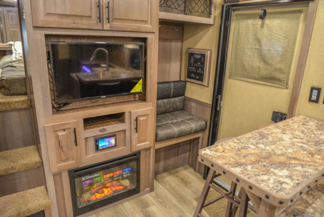 Mud Room Bench in Living Quarters in BH8X18MB Bighorn Edition Horse Trailer | Lakota Trailers