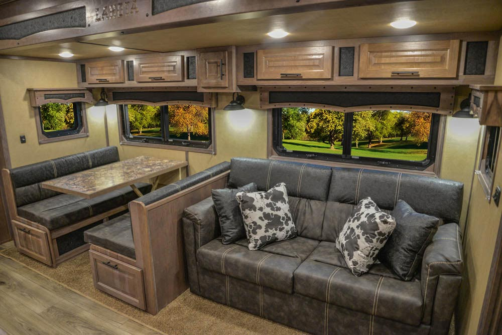 Sofa and Dinette in Slide-out in BH8X18MB Bighorn Edition Horse Trailer   Lakota Trailers