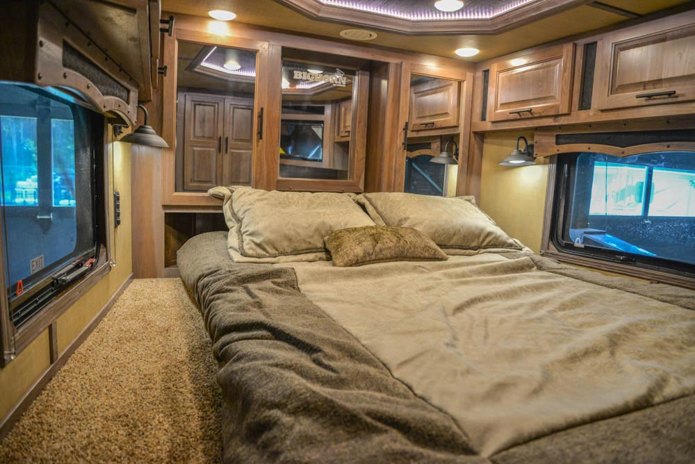 Bed in Gooseneck in BH8X18MB Bighorn Edition Horse Trailer | Lakota Trailers