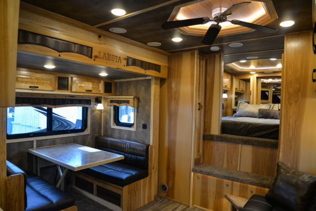 Living Quarters in a BH8X15TDSRK Bighorn Horse Trailer | Lakota Trailers