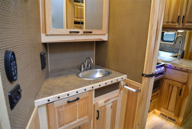Bathroom in a BH8X15TDSRK Bighorn Edition Horse Trailer   Lakota Trailers
