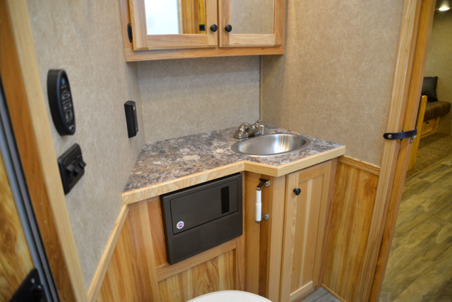 Bathroom in a C8X17EH Charger Edition Horse Trailer| Lakota Trailers