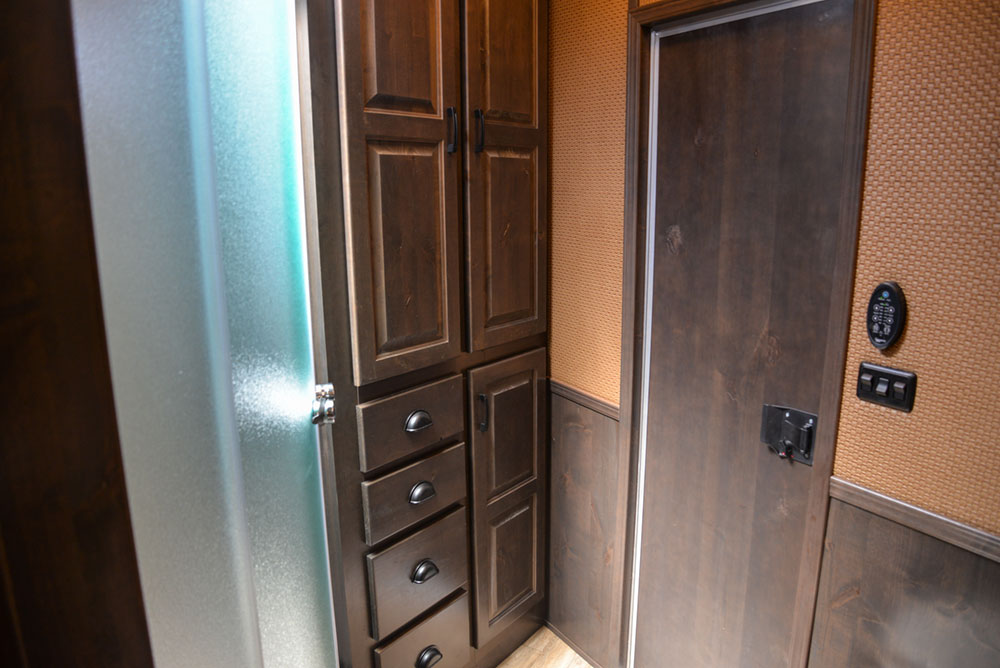 Bathroom Cabinets in a 2020 BH8X18TCE Bighorn Horse Trailer   Lakota Trailers