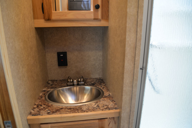 Bathroom Sink in a CX7 Charger Edition Horse Trailer | Lakota Trailers
