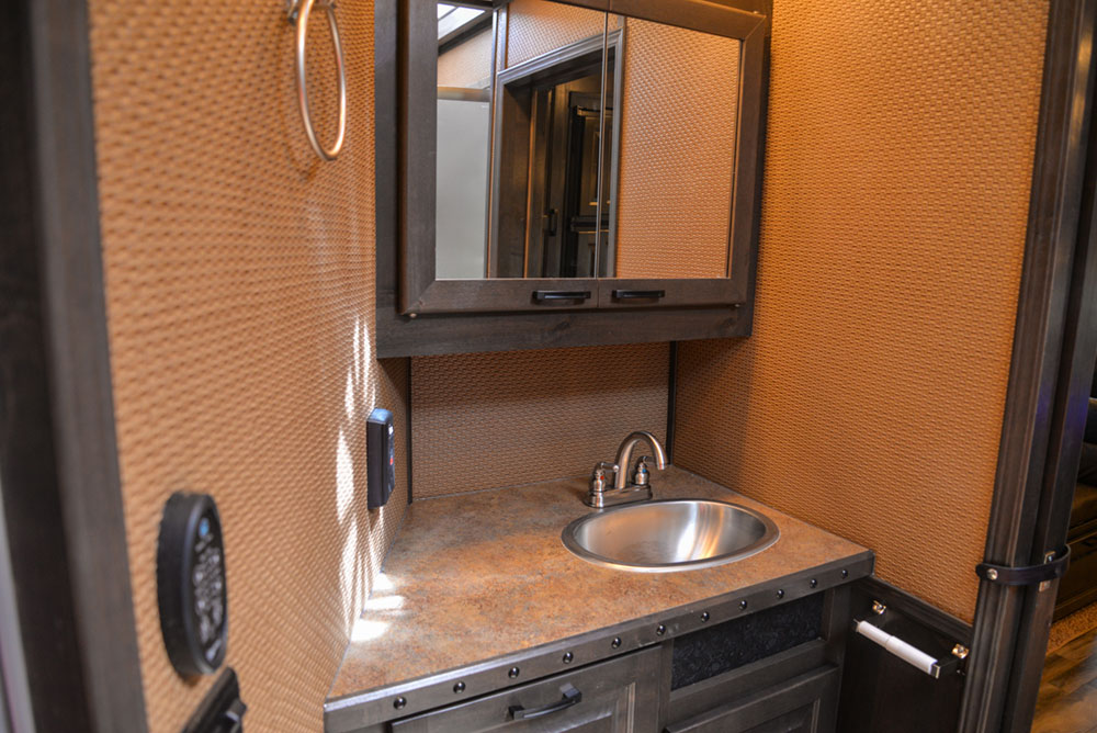 Bathroom Sink in a 2020 BH8X18TCE Bighorn Horse Trailer   Lakota Trailers