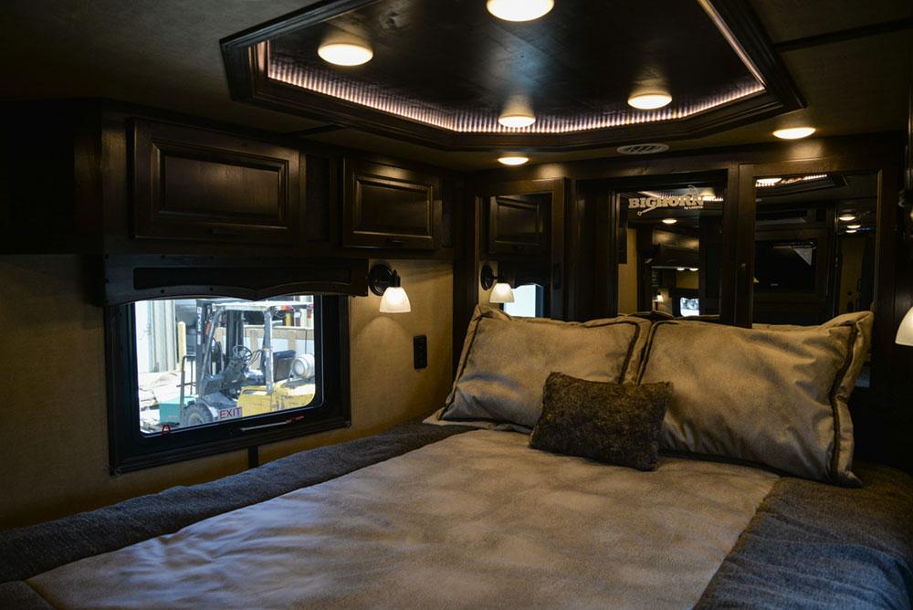 Bedroom in a 2020 BH8X18TCE Bighorn Horse Trailer   Lakota Trailers