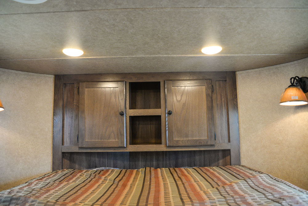 Bedroom Cabinets in a C8X7 Charger Edition Horse Trailer  Lakota Trailers