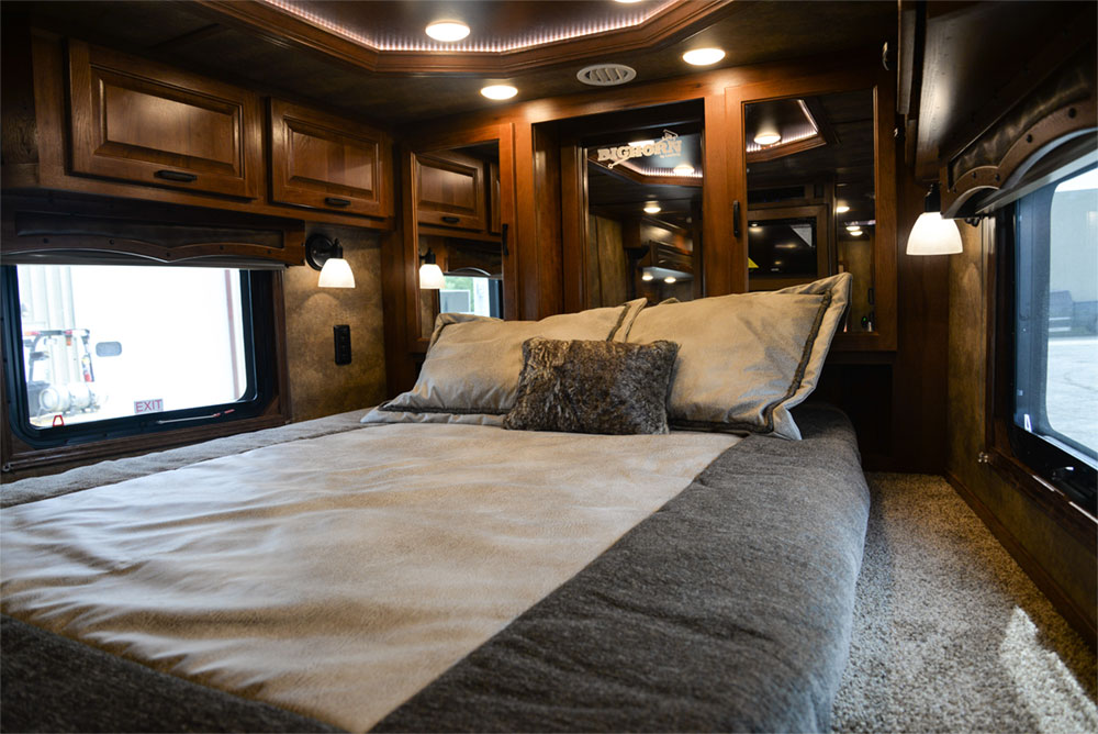 Bedroom in a BLE8X15CE Bighorn Edition Livestock Trailer| Lakota Trailers