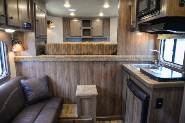 Living Quarters in a C8X7 Charger Edition Horse Trailer| Lakota Trailers