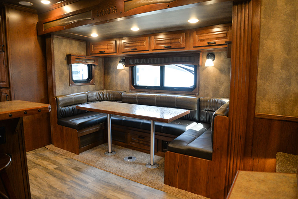 Dinette in a BLE8X15CE Bighorn Edition Livestock Trailer| Lakota Trailers