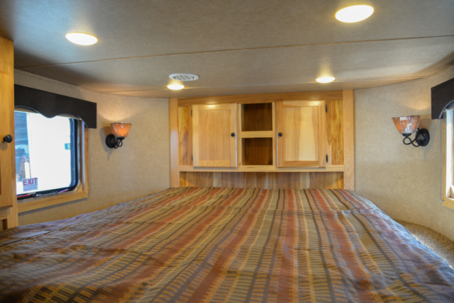 Bedroom in Charger C8X11DR Horse Trailer | Lakota Trailers