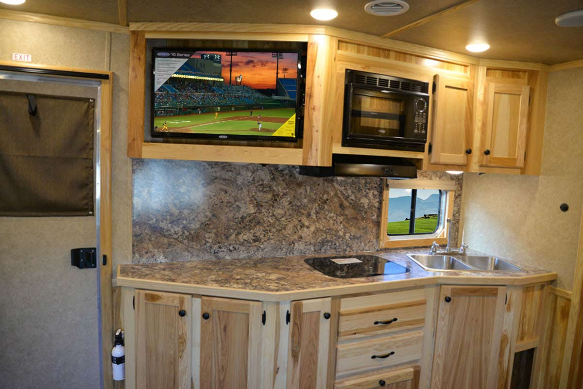 Kitchen Area in LE8X15 Charger Edition Livestock Trailer   Lakota Trailers