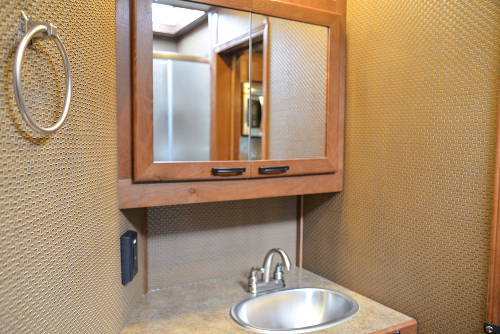 Bathroom in a Bighorn Edition BH8X14CE (Handwiped) | Lakota Trailers