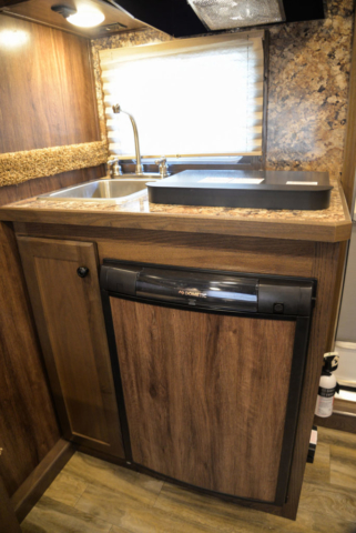 Kitchenette in a C8X7 Charger Edition Horse Trailer| Lakota Trailers