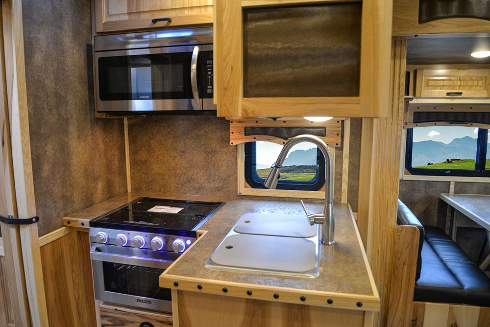 Kitchen in a BH8X15TDSRK Bighorn Edition Horse Trailer   Lakota Trailers