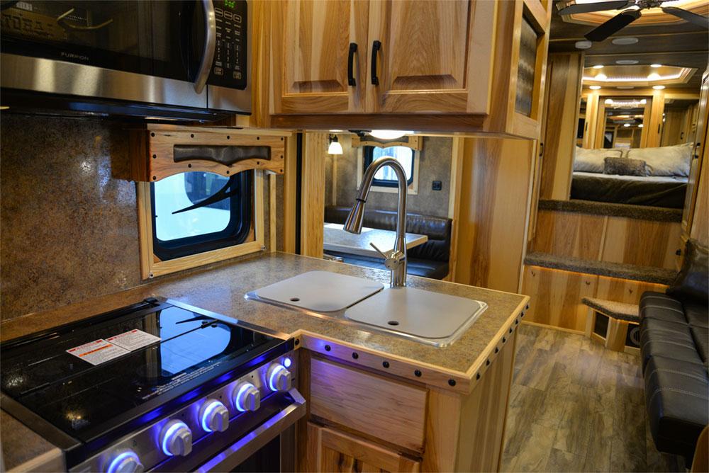 Kitchen in a BH8X15TDSRK Bighorn Horse Trailer   Lakota Trailers
