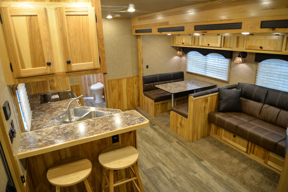 Living Quarters in a C8X17EH Charger Edition Horse Trailer| Lakota Trailers