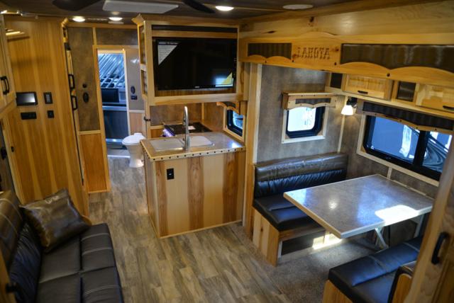 Living Quarters in a BH8X15TDSRK Bighorn Horse Trailer   Lakota Trailers