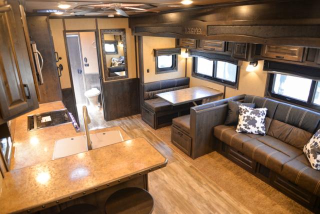 Living Quarters in a 2020 BH8X18TCE Bighorn Horse Trailer   Lakota Trailers