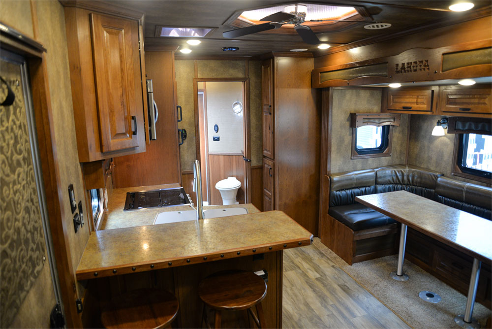 Living Quarters in a BLE8X15CE Bighorn Edition Livestock Trailer| Lakota Trailers