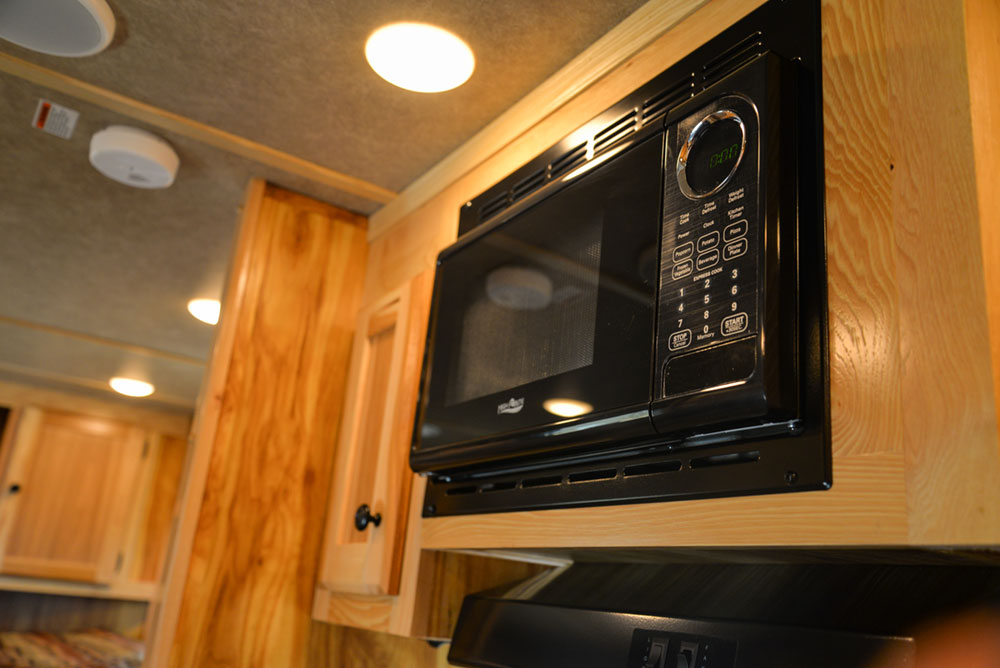 Microwave in a CX7 Charger Edition Horse Trailer | Lakota Trailers