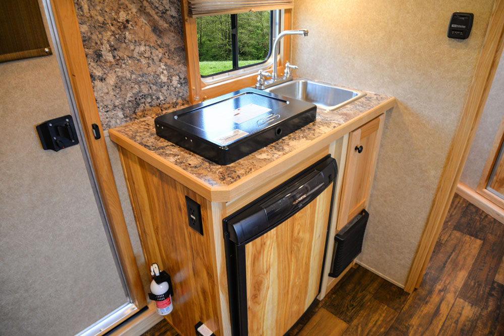 Kitchen in a Charger Bumper Pull C8XHSLBP12SE | Lakota Trailers