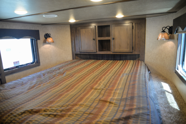 Bedroom in a Charger C8X15SRB Horse Trailer | Lakota Trailers