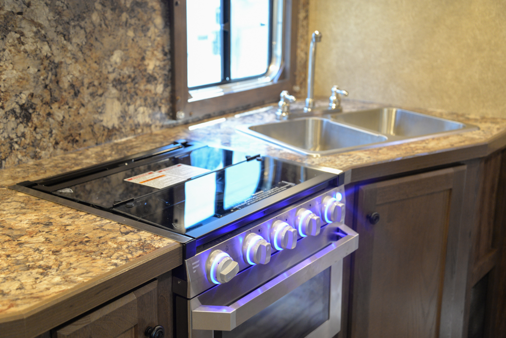 Kitchen in a Charger C8X15SRB Horse Trailer | Lakota Trailers
