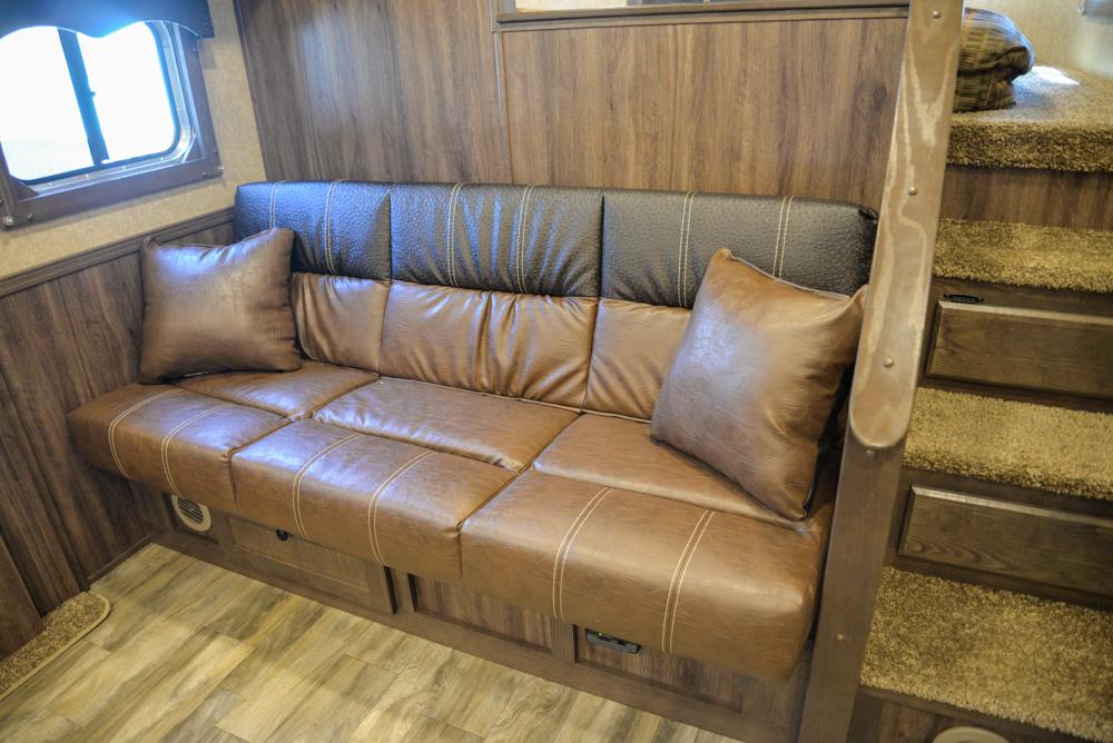 Sofa in a Charger C8X15SRB Horse Trailer   Lakota Trailers