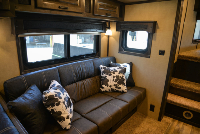 Sofa in a 2020 BH8X18TCE Bighorn Horse Trailer   Lakota Trailers
