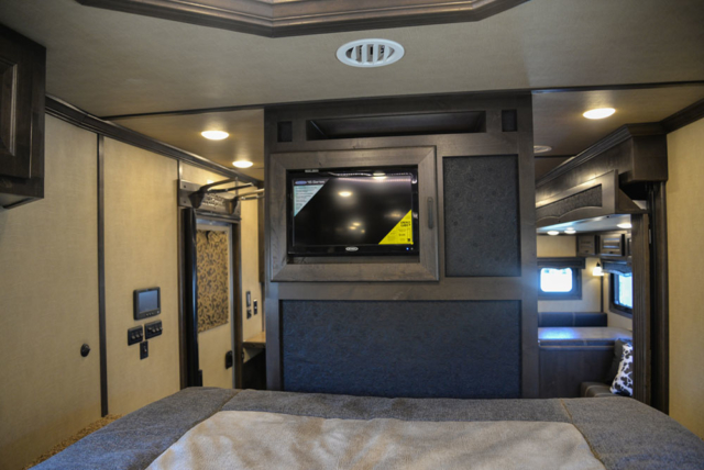 Bedroom Entertainment System in a 2020 BH8X18TCE Bighorn Horse Trailer | Lakota Trailers