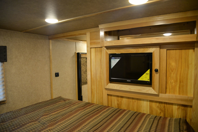 Bedroom Entertainment System in a C8X17EH Charger Edition Horse Trailer| Lakota Trailers