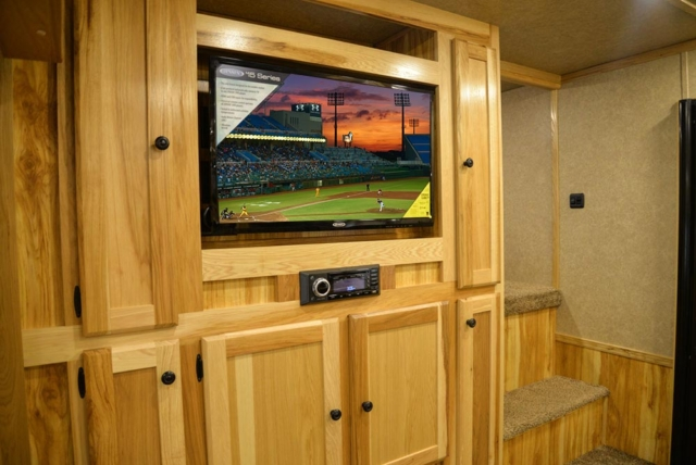 Center Entertainment System in a C8X17EH Charger Edition Horse Trailer| Lakota Trailers