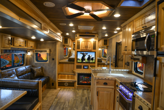 Living Quarters in a BLE8X18CE Bighorn Edition Livestock Trailer | Lakota Trailers