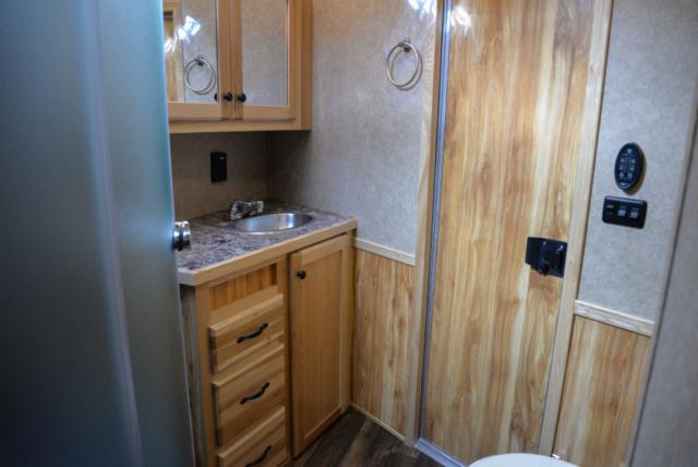 Bathroom in a Charger C8X16BB Horse Trailer | Lakota Trailers
