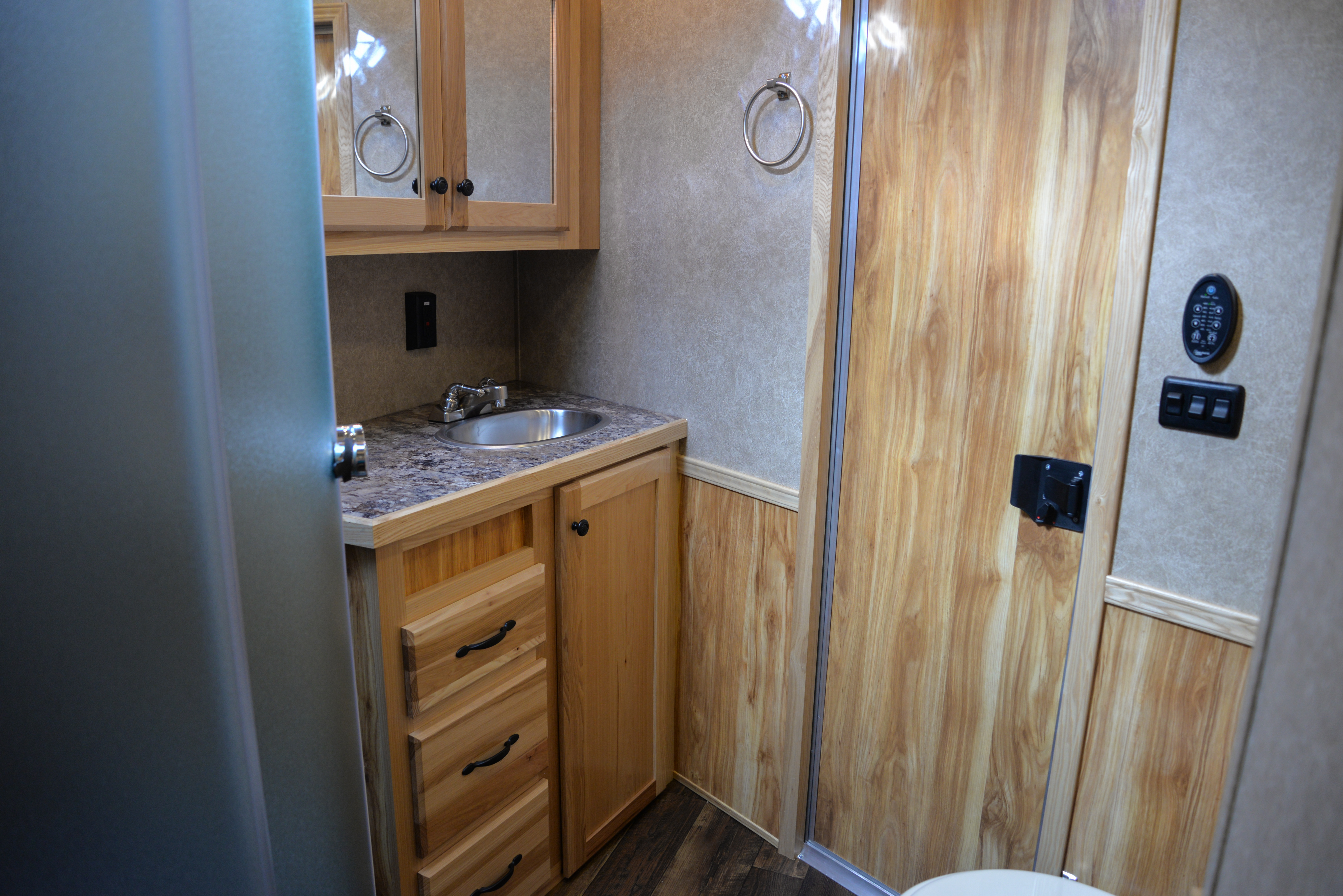 Bathroom in a Charger C8X16BB Horse Trailer | Lakota Trailers