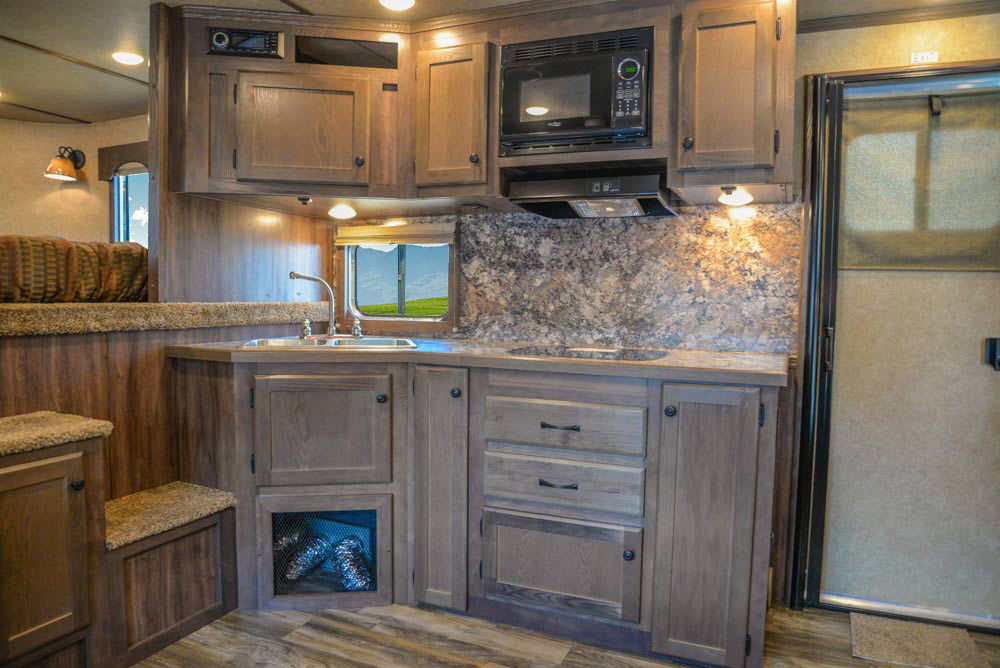 Kitchen Area in LE8X16BB Charger Edition Livestock Trailer   Lakota Trailers