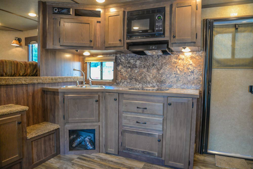 Kitchen in a LE8X16BB Charger Edition Livestock Trailer | Lakota Trailers
