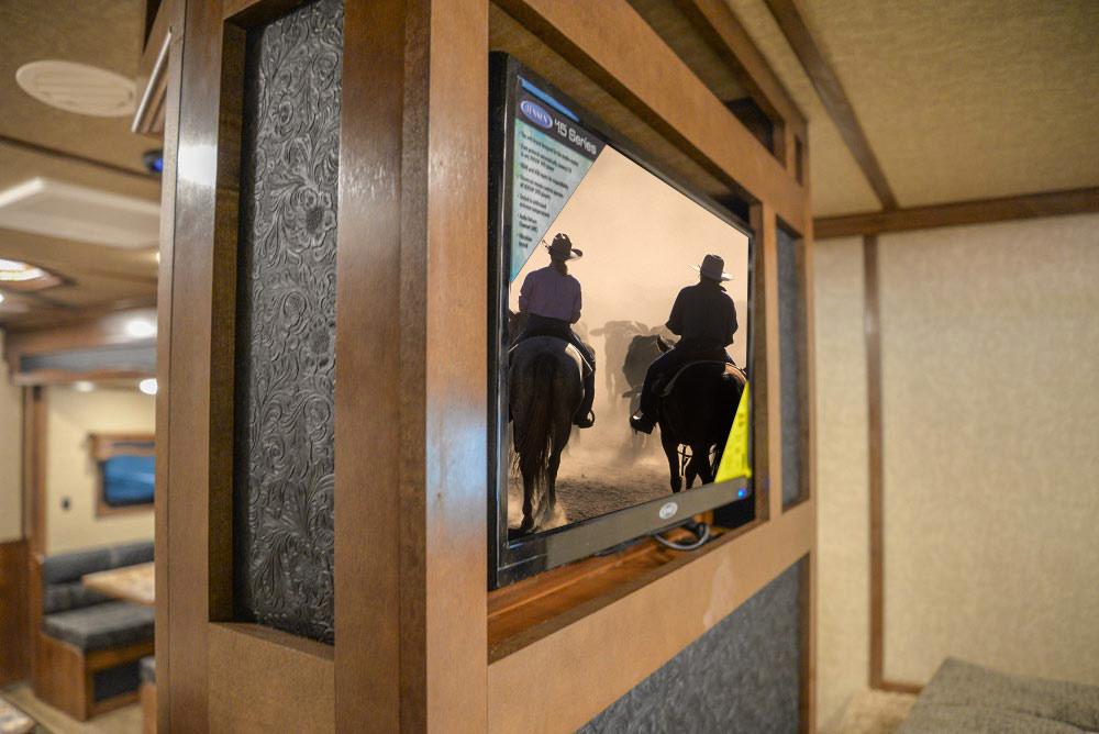 TV in Gooseneck in BH8X18CE Bighorn Edition Horse Trailer | Lakota Trailers