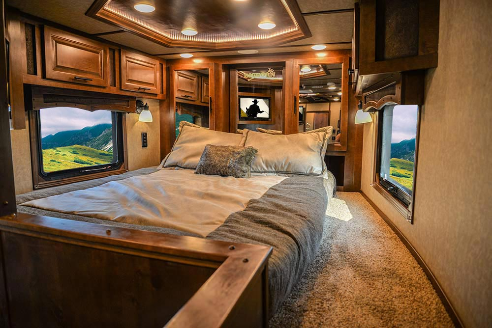 Bed in Gooseneck of a BH8X13SR Bighorn Edition Horse Trailer | Lakota Trailers