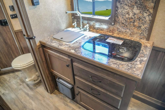 Kitchen Area in CX9SR Charger Edition Horse Trailer | Lakota Trailers