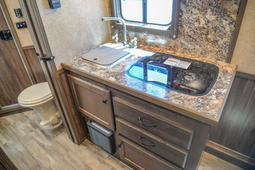 Kitchen Area in a CX9SR Charger Edition Horse Trailer | Lakota Trailers