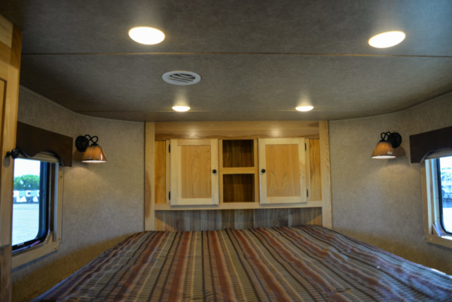 Bedroom in a Charger C8X16BB Horse Trailer | Lakota Trailers