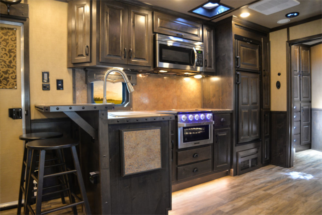 Kitchen in a C8X18TCE Bighorn Edition Horse Trailer | Lakota Trailers