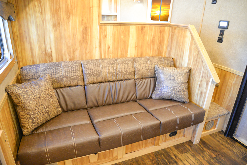 Sofa in a C8X15SRB Charger Edition Horse Trailer | Lakota Trailers