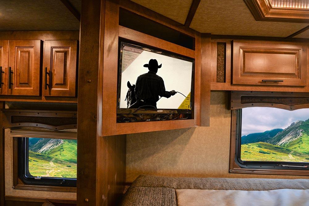 TV in Gooseneck of a BH8X13SR Bighorn Edition Horse Trailer | Lakota Trailers