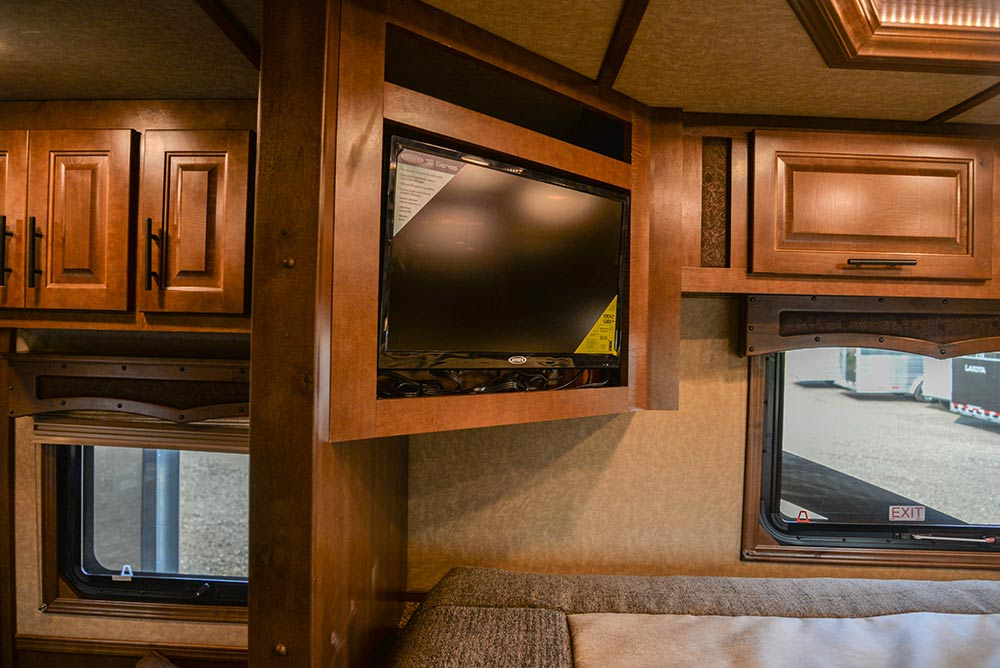 TV in Gooseneck of a BH8X13SR Bighorn Edition Horse Trailer | Lakota Trailers