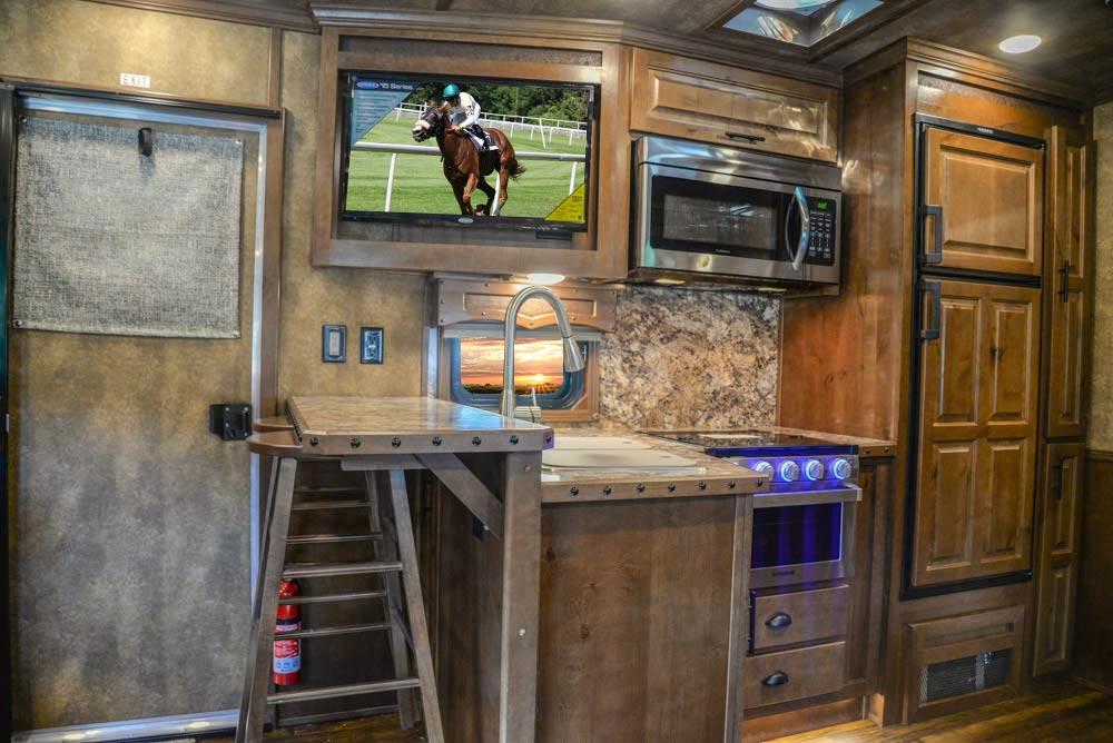 Kitchen Area in BH8X17SRB Bighorn Edition Horse Trailer | Lakota Trailers