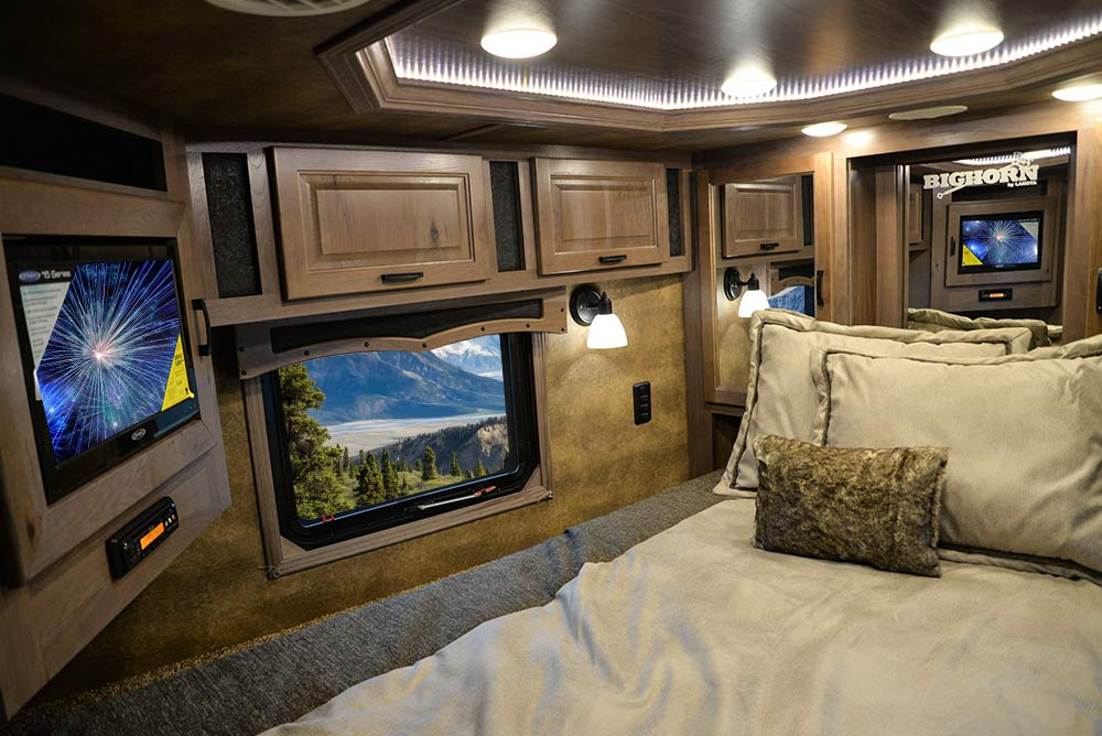 Bedroom in BH8X17 Bighorn Edition Horse Trailer | Lakota Trailers